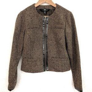 🔥🔥FLASH SALE🔥🔥Brown tweed zip up blazer